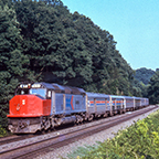 SDP40F locomotive No. 631 leading a train, 1970s.
