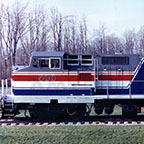 Side view of P-32-8 locomotive No. 500, 1990s.