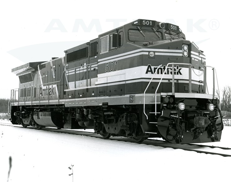 Side view of P-32-8 locomotive No. 501, 1990s.