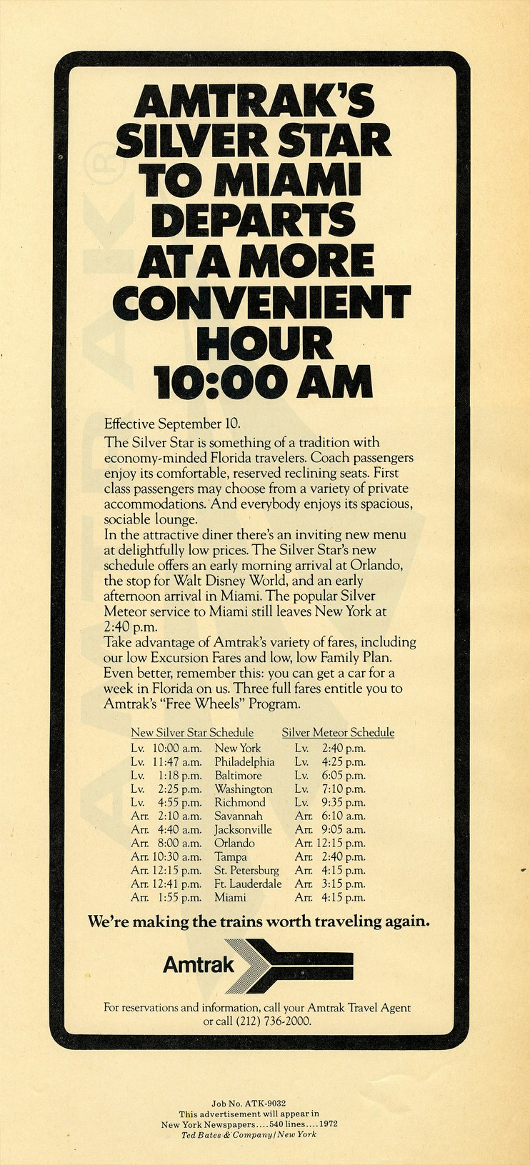 """<i>Silver Star</i>...More Convenient Hour"" advertisement, 1972."