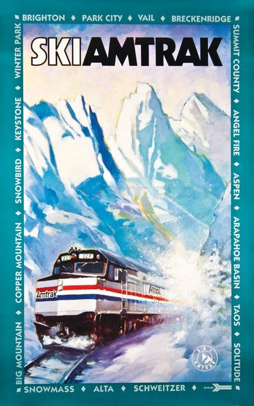 """Ski Amtrak"" poster, 1990s."