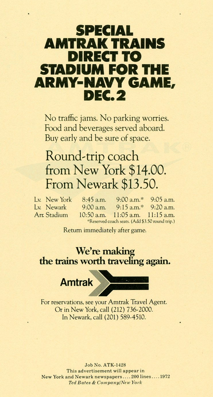 """Special Amtrak Trains...For The Army-Navy Game"" (New York/Newark) advertisement, 1972."