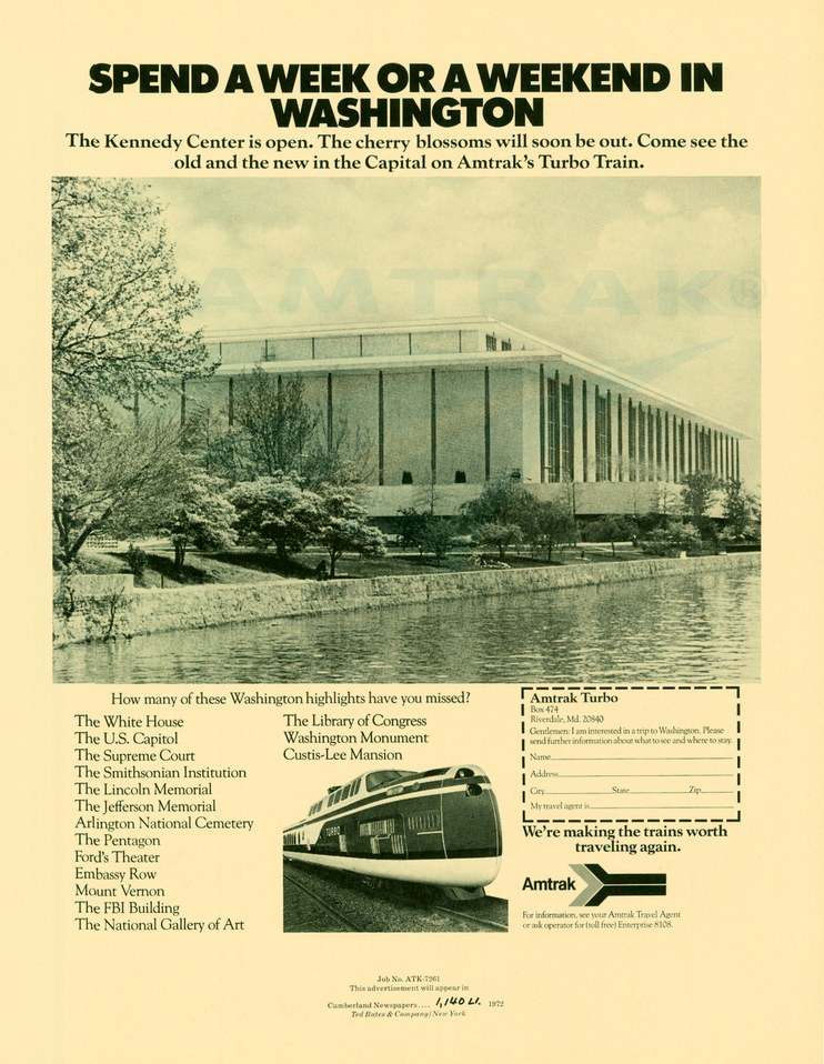 """Spend a Week in Washington"" advertisement, 1972."
