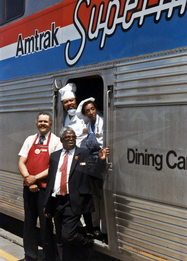 Dining car crew on the <i>Southwest Chief</i>, 1985.