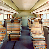 Superliner I lower level coach seating, 1980s.