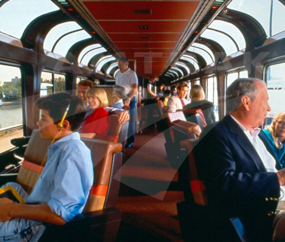 Superliner Sightseer Lounge interior.