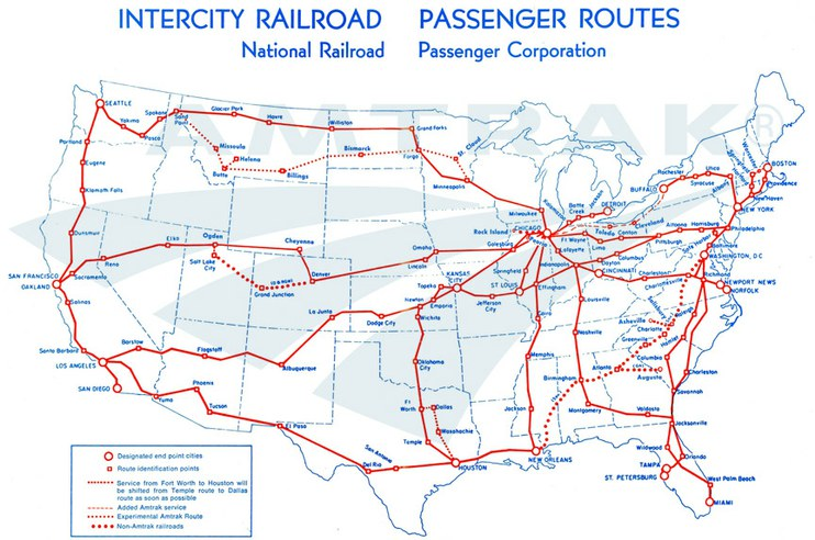 Amtrak system map, 1971. — Amtrak: History of America's Railroad