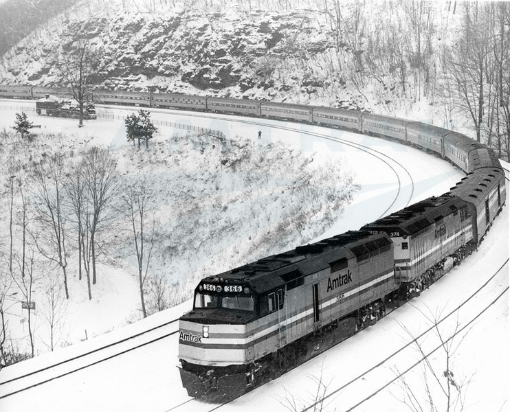 The <i>Broadway Limited</i> on Horseshoe Curve, 1980s.