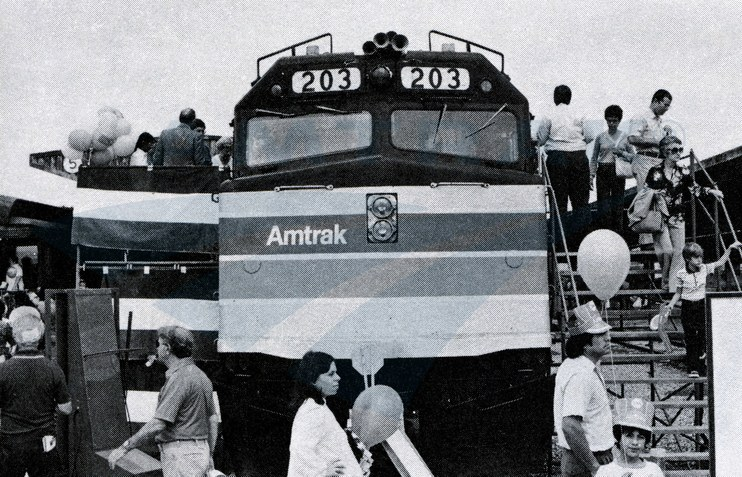 Touring a F40PH locomotive cab, 1980.