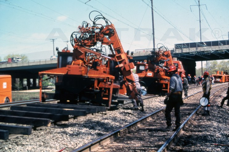 Track work on the Northeast Corridor, 1970s.
