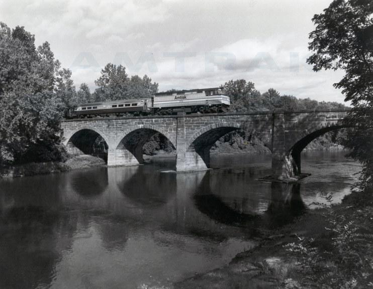 Train crossing the Farmington River Railroad Bridge, 1980s.