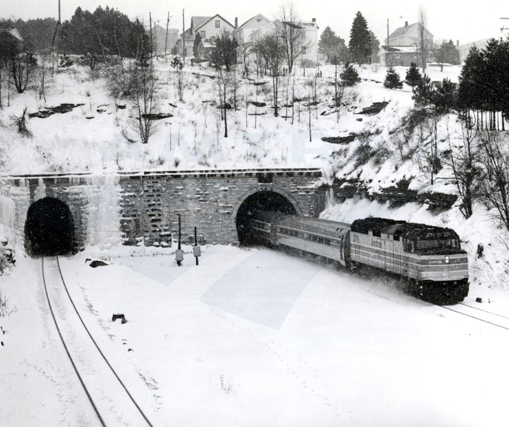 Train exiting the Allegheny Tunnel, late 1970s.