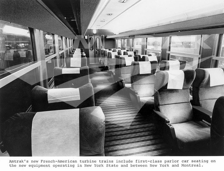 turboliner first class interior amtrak history of america s railroad. Black Bedroom Furniture Sets. Home Design Ideas