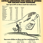 """Two Kinds of Savings For Chicago Train Travelers"" advertisement, 1972."