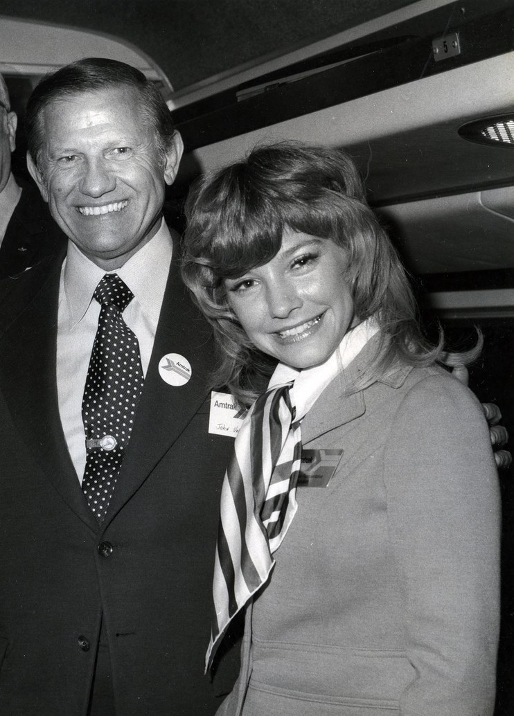 U.S. Secretary of Transportation John Volpe with Amtrak employee Tricia Saunders, 1971.