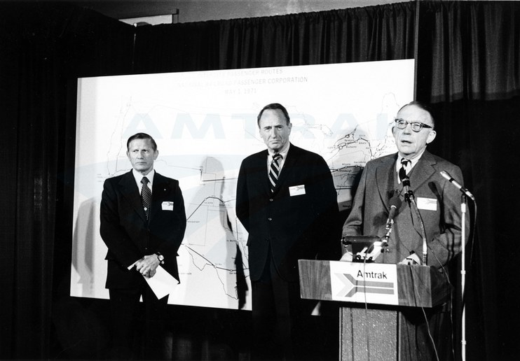 Unveiling the first Amtrak route map, 1971.