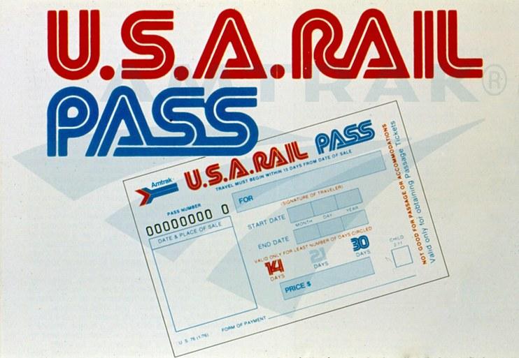 U.S.A. Rail Pass graphic, 1970s.