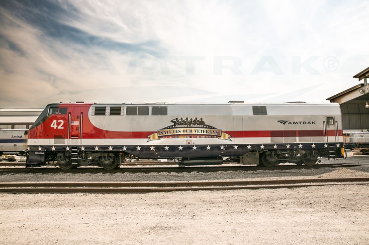 Amtrak Veterans Locomotive at Beech Grove, 2013.