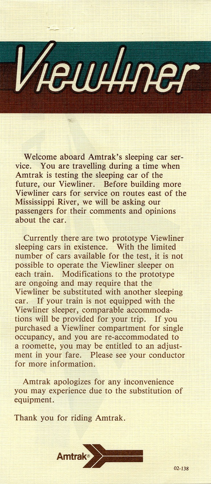 Viewliner flyer, 1980s.