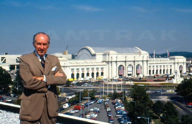 W. Graham Claytor, Jr. in front of Washington Union Station, 1988.