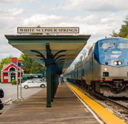 Westbound <i>Cardinal</i> at the White Sulphur Springs, W. Va., station, 2014.