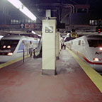 X2000 and ICE trains at New York Penn Station, 1993.