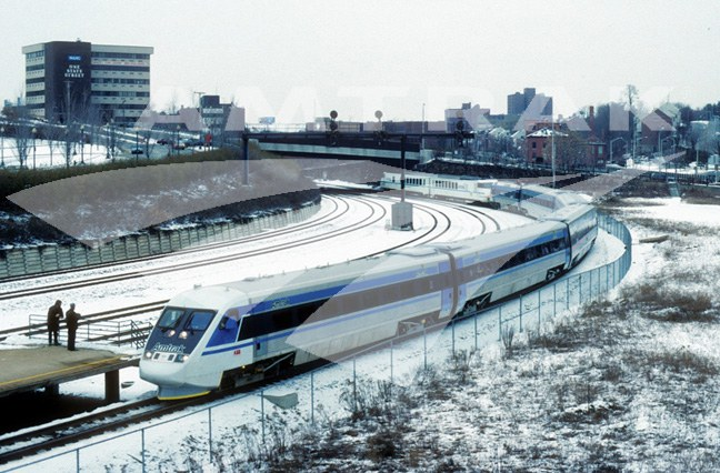 X2000 demonstration train in the snow, 1993.