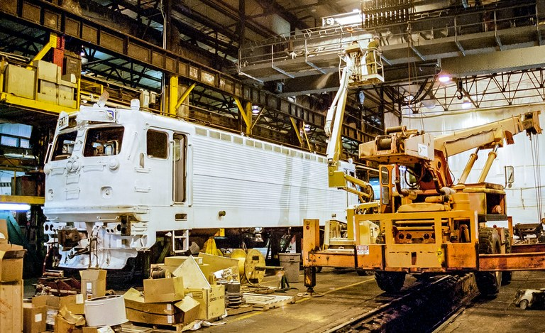 AEM-7 being converted from DC to AC traction at the Wilmington Shops.