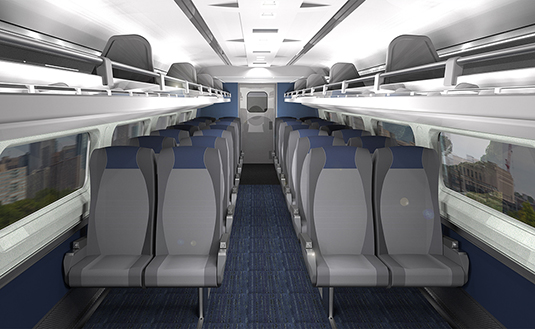 Rendering of Amfleet Business class - 2017 refresh.