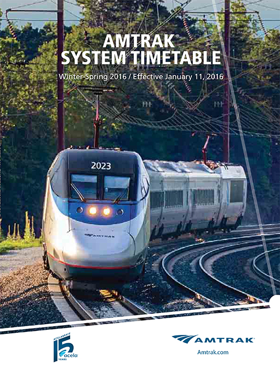 Amtrak Timetable Cover, Winter-Spring 2016