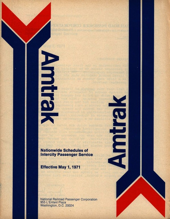 Amtrak Timetable Cover, May 1, 1971