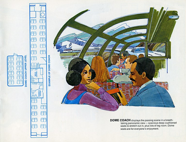 """Dome coach interior from """"Traveling by Train."""""""