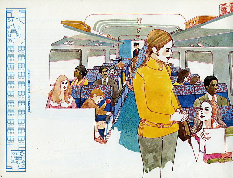 """Leg Rest Coach interior from """"Traveling by Train."""""""