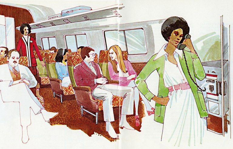 "Metroliner interior from ""Traveling by Train."""
