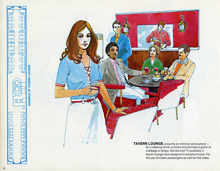 """Tavern lounge interior from """"Traveling by Train."""""""