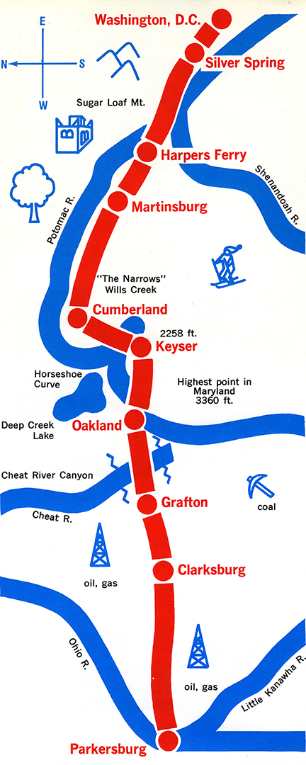 Potomac Turbo route map, 1972.