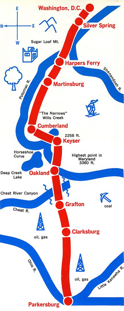 Potomac Turbo route map, 1972.