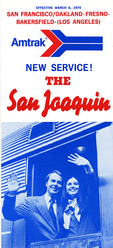 San Joaquin timetable, March 1974 BLOG. Shows a couple waving from the train.