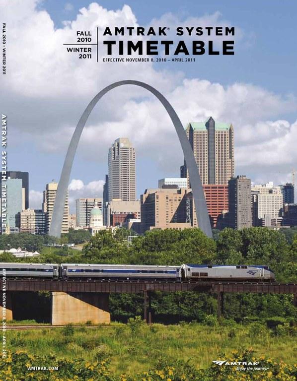 Amtrak Timetable Cover, Nov. 8, 2010