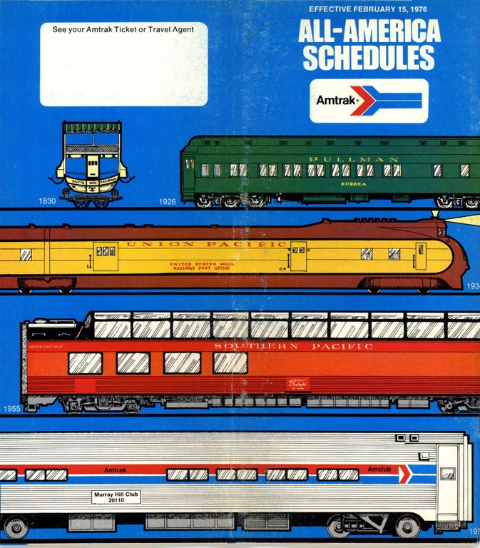 Amtrak Timetable Cover, Feb 15, 1976