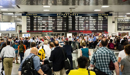 New York Penn Station Amtrak Concourse with large crowd, 2014