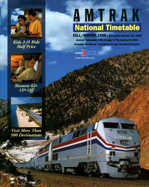 Amtrak Timetable Cover, Oct 25, 1998