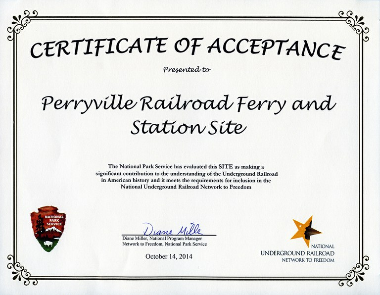 Perryville Railroad Ferry and Station Site Certificate, 2014