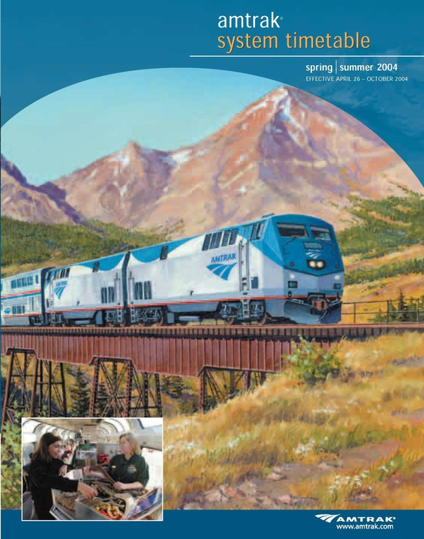 Amtrak Timetable Cover, Apr 26, 2004