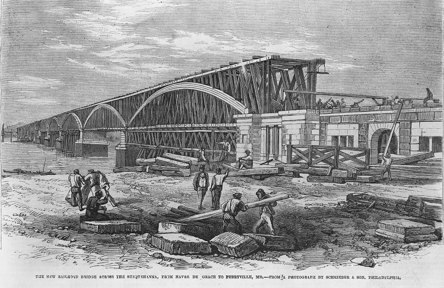 Susequehanna River Rail Bridge etching, 1866