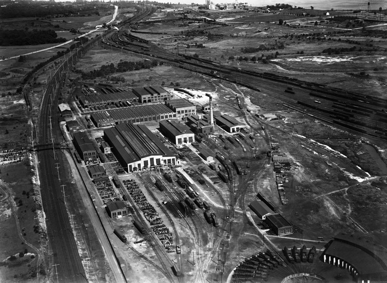 Aerial view of the Wilmington Shops, 1938.