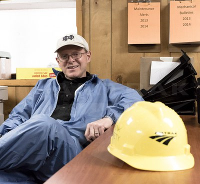 Sheet metal worker Steve Osburn talks with Amtrak History, April 2015.