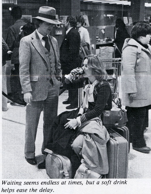 Couple with luggage at Washington Union Station, 1977.