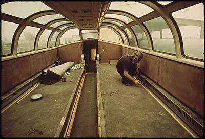 Amtrak Dome car being refurbished at Mira Loma, Calif. May 1974. Photo by Charles O'Rear. From DOCUMERICA: The Environmental Protection Agency's Program to Photographically Document Subjects of Environmental Concern, Record Group 412: Records of the Environmental Protection Agency, 1944 - 2006.