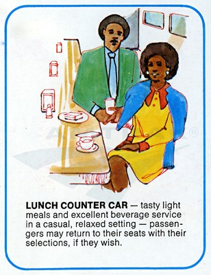 """Drawing of a couple in a lunch counter car from """"Traveling by Train,"""" a printed paper booklet with car diagrams and drawings of car interiors; dates to the early 1970s."""